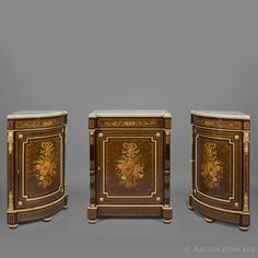 A Gilt-bronze and Marquetry Inlaid, Mahogany and Purpleheart Side Cabinet by Paul Sormani, French, circa 1870 - #AdrianAlan