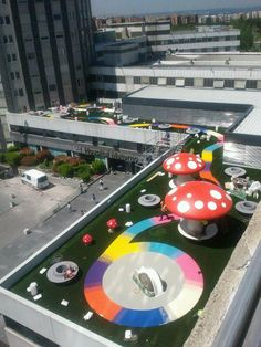 Um jardim no hospital - n. Kids Backyard Playground, Playground Design, Backyard For Kids, Kids Salon, Parc A Theme, Mall Design, Rooftop Lounge, Play Yard, Play Spaces