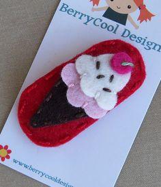 ice-cream-cone-dark-red-wool-felt-snap hair clip by berry cool designs, $ 6.00