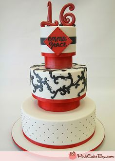 Quilted Black and Red Sweet 16 Cake by Pink Cake Box in Denville, NJ.  More photos and videos at http://blog.pinkcakebox.com/quilted-black-and-red-sweet-16-cake-2011-05-11.htm