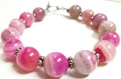 Crazy Pink Jasper Stone Beaded Bracelet by CowGirlUpDesigns, $27.00