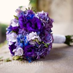 Bridesmaid bouquets- purple hydrangea with purple lisianthus- burlap stem wrap