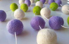 Nursery felt ball garland spring bunting by GarlandwithaStory