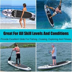 Goplus Inflatable Stand Up Paddle Board SUP w/ 3 Fins Color: white black and gray Material: EVA, dropstitch, aluminum paddle Dimensions: x x Volume: 225 Liters Board Weight: 24 lbs Paddle Adjustable: to Rider weight: Up to 440 lbs PSI: Stand Up Surf, Stand Up Paddle Board, Sup Paddle Board, Inflatable Paddle Board, Inflatable Sup, Sup Boards, Offshore Wind, Best Cruise, Cruise Vacation