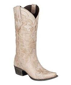 Another great find on #zulily! White Dalton Leather Cowboy Boot by Lane Boots #zulilyfinds