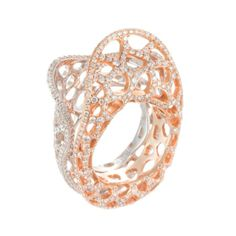House Of Baguettes 18K White & Rose Gold Filigree Clam Motif Ring With Diamonds featured in vente-privee.com