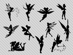 Check out our fairy silhouette selection for the very best in unique or custom, handmade pieces from our collage sheets shops. Silhouette Designer Edition, Tinker Bell Tattoo, Disney Princess Silhouette, Fairy Clipart, Belle Tattoo, Tattoo Off, Cat Tattoo, Fairy Silhouette, Silhouette Studio