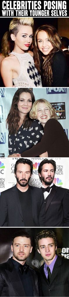 Celebrities posing with their younger selves…
