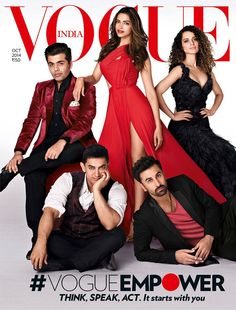 Vogue India October 2014 : Ranbir Kapoor, Aamir Khan, Karan Johar, Deepika Padukone & Kangana Ranaut by Farrokh Chothia Deepika Ranveer, Deepika Padukone, Ranbir Kapoor, Ranveer Singh, Aishwarya Rai, Vogue Magazine Covers, Vogue Covers, Indian Celebrities, Bollywood Celebrities