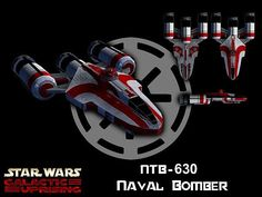 The Republic NTB-630 naval bomber was more heavily armed and armored than its close cousin, the ARC-170 starfighter, and the similar PTB-625 planetary bomber.