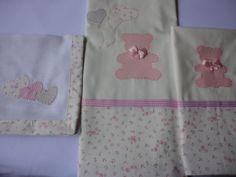 Enxoval de bebe - lençol para carrinho ou mini berço, com fronha e babeiro
