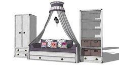 "Children's room furniture ""Indiana"", bed, wardrobe, canopy, мебель для детской комнаты ""Индиана"", кровать, шкаф, балдахин - 3D Warehouse"
