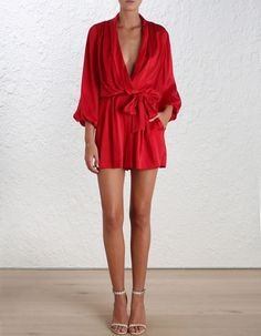 Sueded Silk Wrap Playsuit - New Arrivals