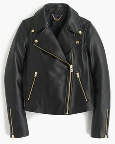 j.crew collection black leather jacket