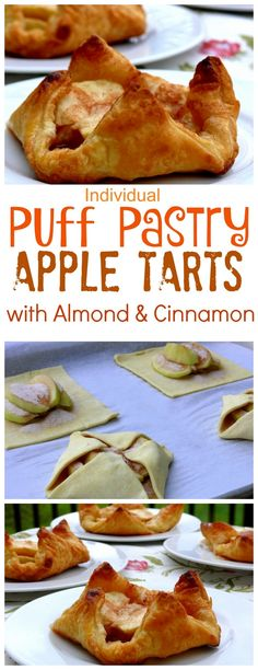 Individual Puff Pastry Apple Tarts with Almond and Cinnamon from NoblePig.com.