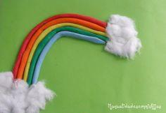 Manualidades con mis hijas. Arco iris con plastilina. Kids craft. Plasticine. Rainbow