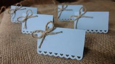 Wedding Place Cards (Set of - Escort Cards - Name Tags - Rustic Shabby Chic - Hearts - Love - Bows - Sky Blue Shabby Chic Hearts, Blue Shabby Chic, Invitation Paper, Vintage Wedding Invitations, Invites, Wedding Place Cards, Wedding Table, Wedding Things, Origami Wedding