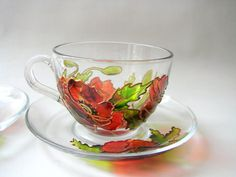 Poppy Tea glass cups Painted Poppy Glasses Home por LiLaGarden