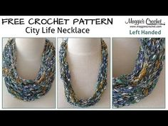City Life Necklace Free Crochet Pattern: Shop City Life yarn: Left-Handed Video: My mission is to help you master the art of crochet through these videos. Crochet Necklace Pattern, Crochet Jewelry Patterns, Crochet Accessories, Crochet Designs, Bracelet Patterns, Crochet Jewellery, Puff Stitch Crochet, Hand Crochet, Free Crochet