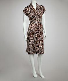 Brown Giraffe Cap-Sleeve Dress
