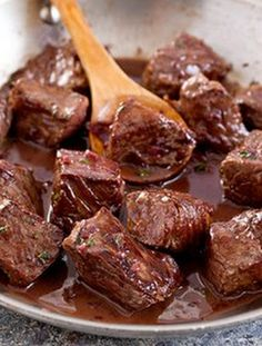 ♥ Steak Tips with Red Wine Sauce ♥