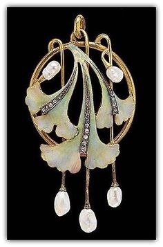 Art Nouveau Brooch with Enameling, pearls, and 17 diamonds.