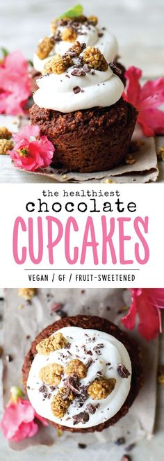 These ridiculously healthy Chocolate Cupcakes are vegan, gluten-free, oil-free, sugar-free, nut-free, and so decadent. The perfect guilt-free chocolate treat, and easy to make too! via @Natalie | Feasting on Fruit