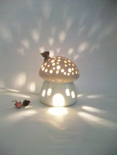 Night Light/ Fairy House - Pink Roof, Plain White House, Mushroom with Starry Sky -Handmade, Ready to Ship - Children's Light/Nursery Light Diy Clay, Clay Crafts, Diy And Crafts, Ceramic Pottery, Pottery Art, Ceramic Art, Clay Art Projects, Ceramics Projects, Nursery Lighting
