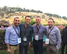 Sam Goldman (right) with delegates on an LGBT outreach trip to Israel in June.