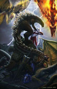 "Art by Larry Quach ""The King of the Monsters"" Godzilla + Ultraman + Mothra + Rodan + Green Ranger Dragon Zord + Anguirus + Gamera + Guiron + Red Ronin + King Ghidorah"