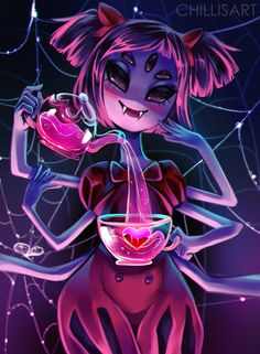 "chillisart:  ""I think purple is a better look on you! Ahuhuhu~"" a drawing of Muffet from undertale! i just finished it today, its absolutely fantastic, i seriously recommend playing it"