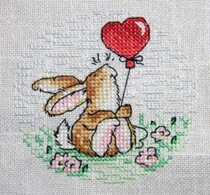 Birthday Bunny, designed by Margaret Sherry, @Matty Chuah World of Cross Stitching, issue 200, stitched by Mad About Cross Stitch blogger, Tracy.