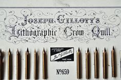 Vintage Calligraphy Gillott Crow Quill Nib Pens with Pen Holder. £18.00, via Etsy.