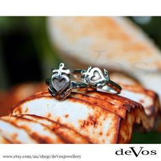 """Sterling Silver """"anchor heart"""" rings, available at our Etsy shop. Designed and made on the Gold Coast, Australia.  by @devosjewellery"""