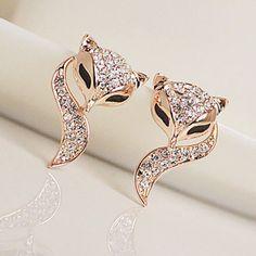 Pair of Stylish Diamante Fox Pattern Stud Earrings For Women, AS THE PICTURE in Earrings | DressLily.com