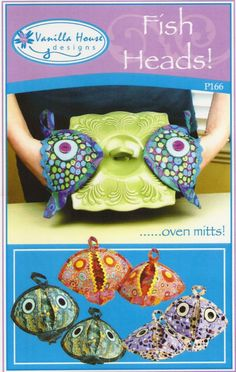 Pattern to purchase - Fish Heads Oven Mitts Pattern Potholders Vanilla House Designs DIY Sewing