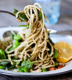 (via Recipe: Lemony Pesto Pasta with Edamame  Almonds Six Ingredients (and Salt) | The Kitchn)