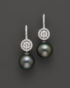Tara Pearls 18K White Gold Diamond and Cultured Tahitian Pearl Earrings, 11mm | Bloomingdale's