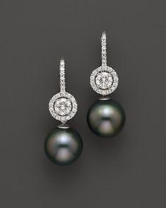 Tara Pearls 18K White Gold Diamond and Cultured Tahitian Pearl Earrings, 11mm | Bloomingdale's