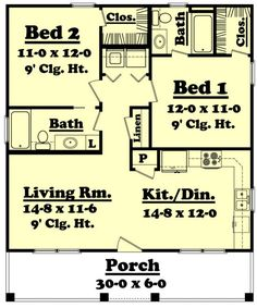 floor plan, PERFECT! +open living/kitchen/dining +2 full bath, laundry area in hall
