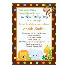 Jungle Safari Baby Shower Invitation 5x7 Card