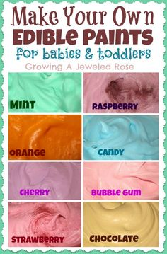 Not sure if I want to encourage my kids to eat paint, but just in case. Easy to make edible Paints- great sensory and art exploration for babies and toddlers! Sensory Activities, Infant Activities, Activities For Kids, Sensory Play, Toddler Art, Toddler Crafts, Baby Crafts, Toddler Toys, Infant Toddler