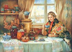 Painted by Vassily Nesterenko 1967, Pavlograd, Russia. Drinking tea