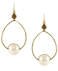 Jessica Simpson Gold Tone Earrings, Pearl Drop Hoop Earrings - Fashion Jewelry - Jewelry & Watches - Macy's