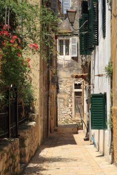Old street in Corfu town Places To Travel, Places To See, Corfu Town, Corfu Island, Corfu Greece, Old Street, Greece Travel, Greek Islands, Old Town