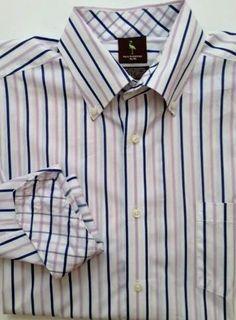 Tailorbyrd XL men's dress shirt pink navy blue white striped flip cuffs  #Tailorbyrd #ButtonFront