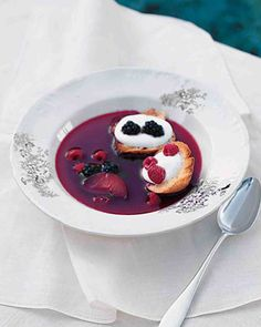 """See the """"Chilled Plum and Berry Soup"""" in our Chilled Soup Recipes gallery Plum Recipes, Blackberry Recipes, Summer Recipes, Fall Recipes, Fruity Wine, Chilled Soup, Martha Stewart Recipes, Refreshing Desserts, Food Mills"""