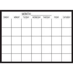 With a clear background, this monthly calendar will seamlessly fit into your decor. Its dry erase surface makes keeping track of dates easier than ever. Black on Clear Monthly Dry Erase Calendar Decal contains 1 piece on 1 sheet that measures in. x 24 in. Calendar Board, Diy Calendar, School Calendar, Calendar Design, Printable Blank Calendar, Monthly Planner Printable, Monthly Schedule Template, Planner Template, Choclate Bar