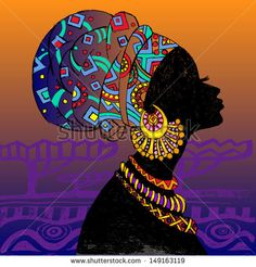 silhouette of woman. Beautiful black woman. - stock vector