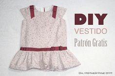 DIY Costura: Vestido de niña con cintura baja (patrón molde gratis) https://www.pinterest.com/chicunao/diy-beb%C3%A9sewing-baby/